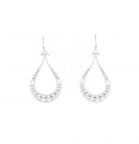 A photo of the 925 sterling Silver Studded Drop Shape Earrings product