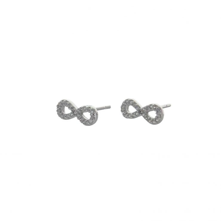 A photo of the 925 Sterling Silver Pave Infinity Studs product
