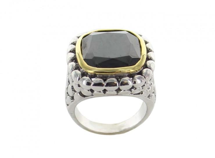 large square gemstone ring black