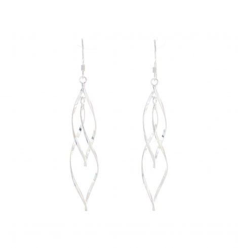 A photo of the Long Swirl Sterling Silver Earrings product