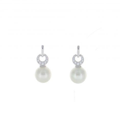 A photo of the Pave & Pearl Post Earrings product