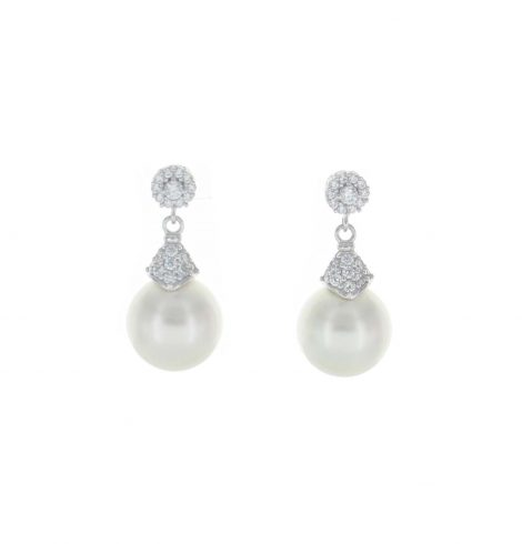 A photo of the 925 Pave Pearl Drop Earrings product