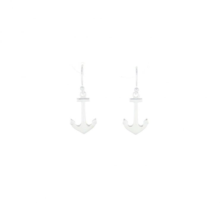 A photo of the Sterling Silver Dangle Anchor Earrings product