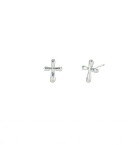 Round Cross Sterling Silver Earing