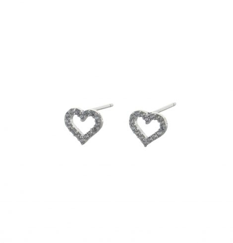 A photo of the Tiny Rhinestone Heart Studs product