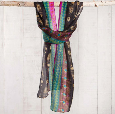 A photo of the Arrows & Feathers Silk Scarf, Belt, & Headwrap product