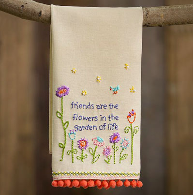 A photo of the Friends are Flowers Linen Handtowel product