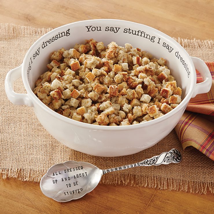 """A photo of the """"You Say Stuffing I Say Dressing"""" Serving Bowl Set product"""