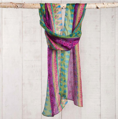 A photo of the Purple & Green Silk Scarf, Belt, & Headwrap product