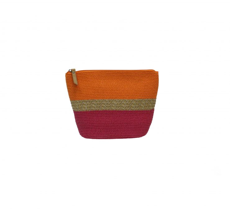 A photo of the Tan Line Leather Strap Straw Bag product
