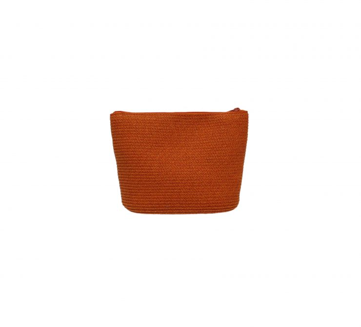 A photo of the Orange Leather Strap Straw Bag product