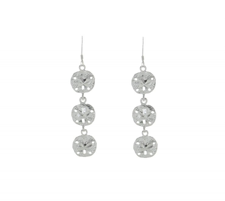 A photo of the Long Sand Dollar Earrings product