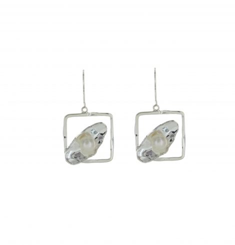 A photo of the Square Lever Back Mother of Pearl Earrings product