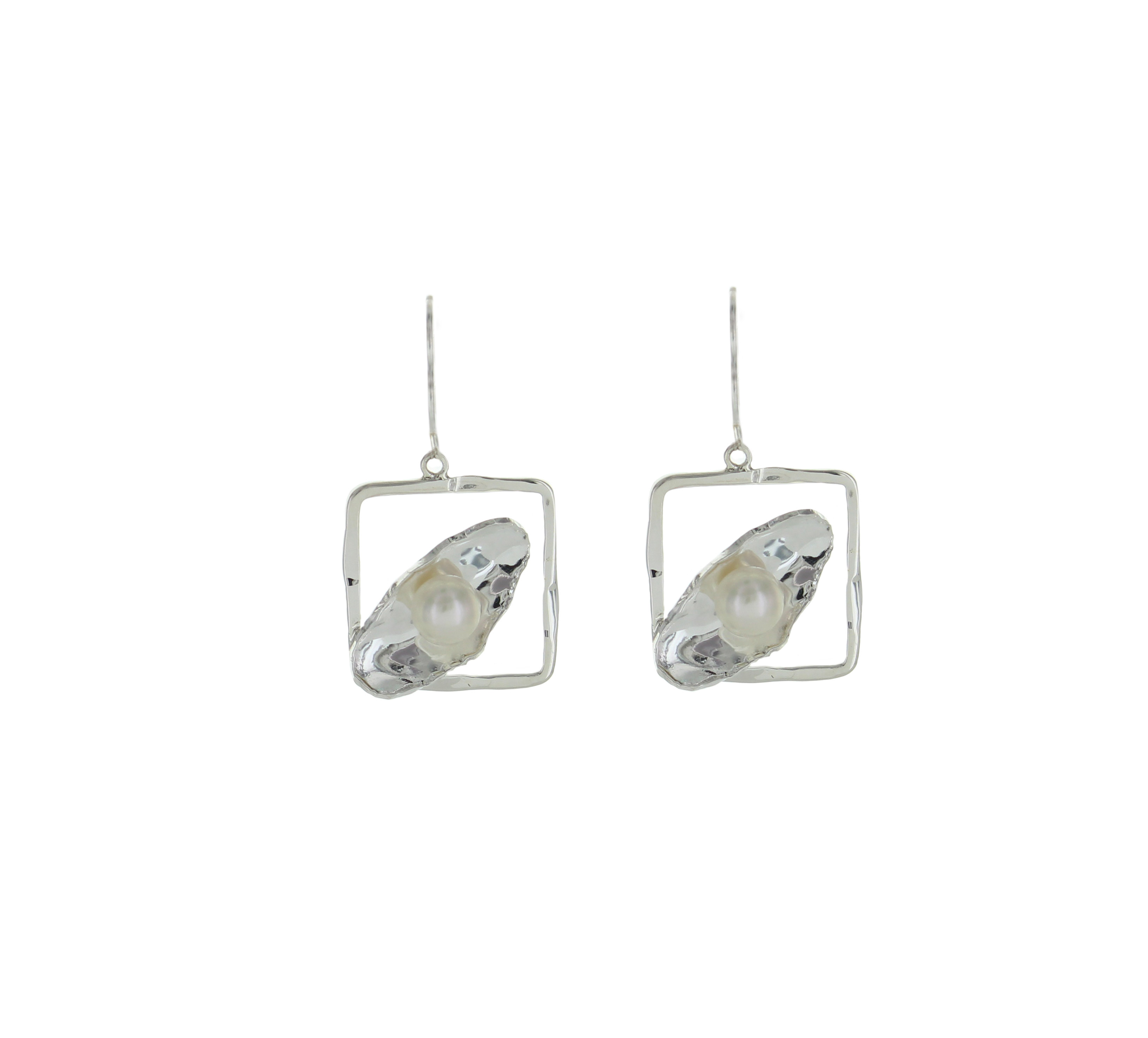 Square Lever Back Mother Of Pearl Earrings