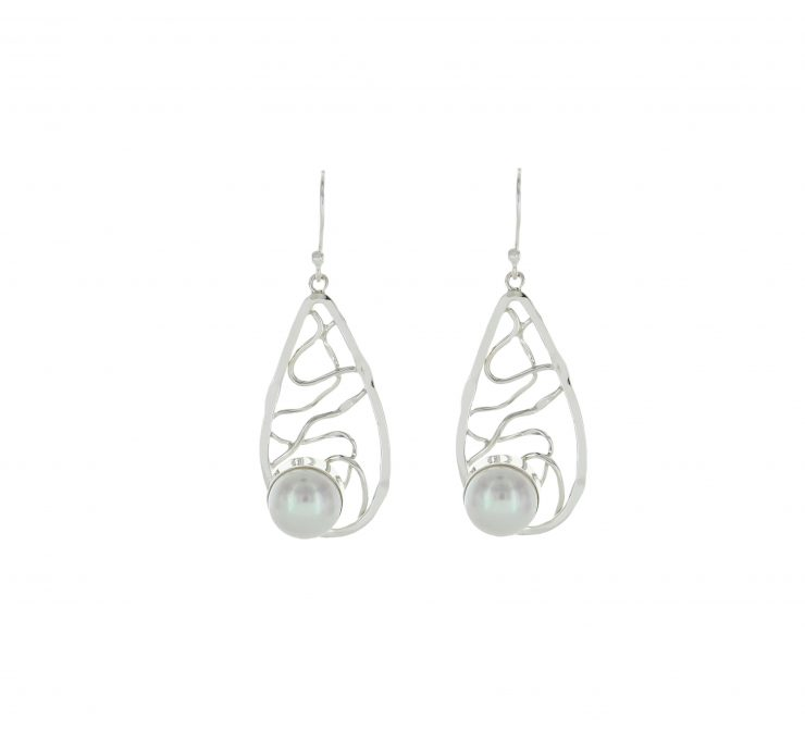 A photo of the Wire Drop Mother of Pearl Dangles product