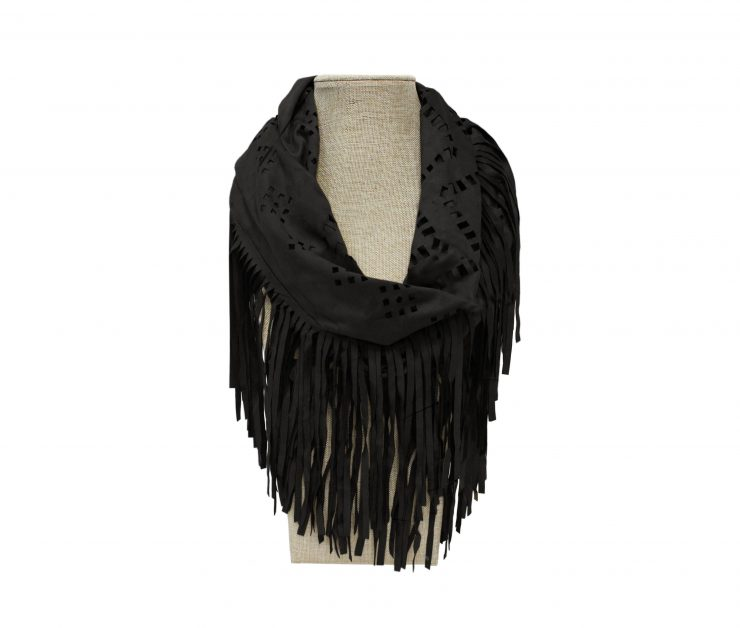 A photo of the Black Fringe Leather  Scarf product