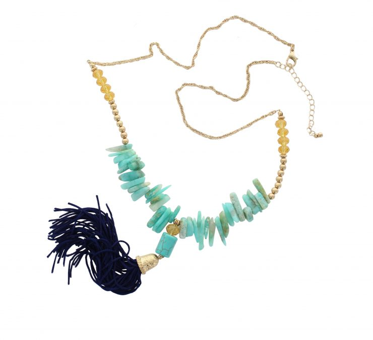 A photo of the Turquoise Boho Tassel Necklace product