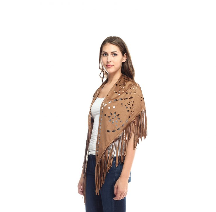 A photo of the Brown Suade Poncho product