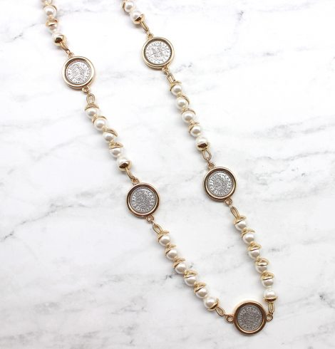 A photo of the Pearls & Coins Necklace product