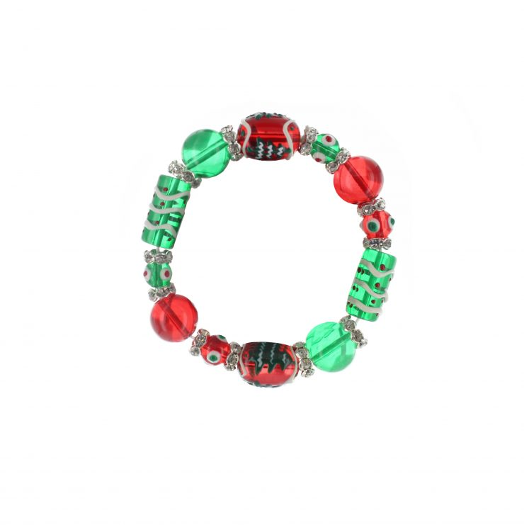 A photo of the Red & Green Pine Tree Bracelet product