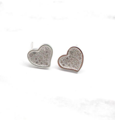 A photo of the Small Pave Heart Studs product