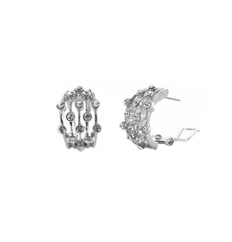 A photo of the Silver Rhinestone Lines Earrings product
