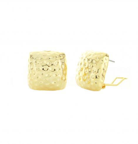 texturized_square_pierced_earrings_gold