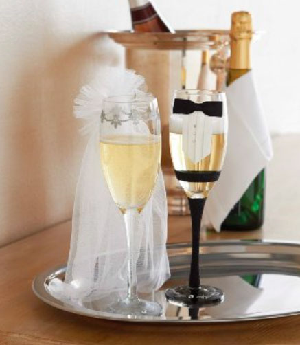 A photo of the Bride & Groom Champagne Glass Set product