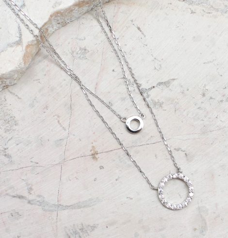 A photo of the Double Circle Necklace product