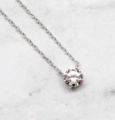 A photo of the Single Floating CZ Necklace product
