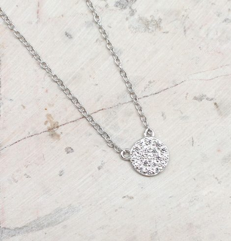 A photo of the Cubic Zirconia Pave Coin Necklace product