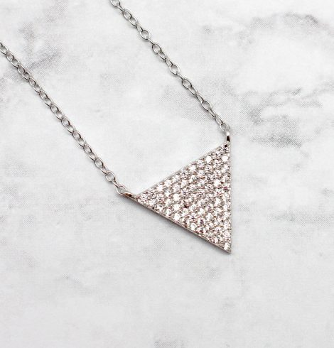 A photo of the Triangles and Troubles Necklace product