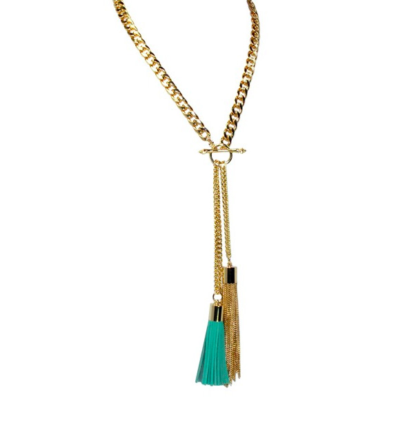 A photo of the Double Tassel Aqua Necklace product