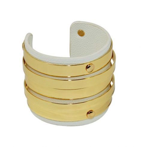 A photo of the Gold Bangles Leather Cuff product