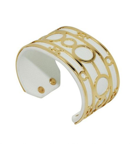 A photo of the Gold Circles White Leather Cuff product