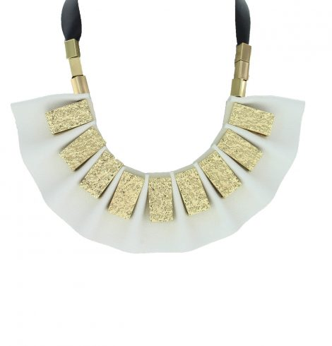 A photo of the White Leather Necklace product