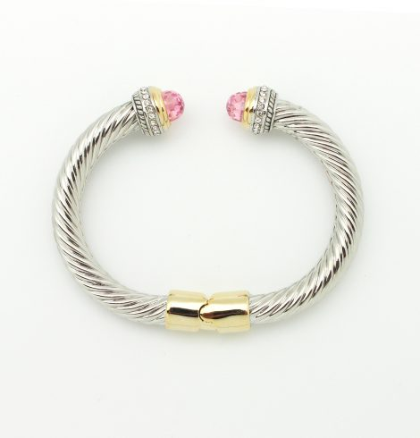 large_cable_two_tone_rhinestone_cuff_pink