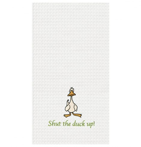 "A photo of the ""Shut The Duck Up"" Kitchen Towel product"