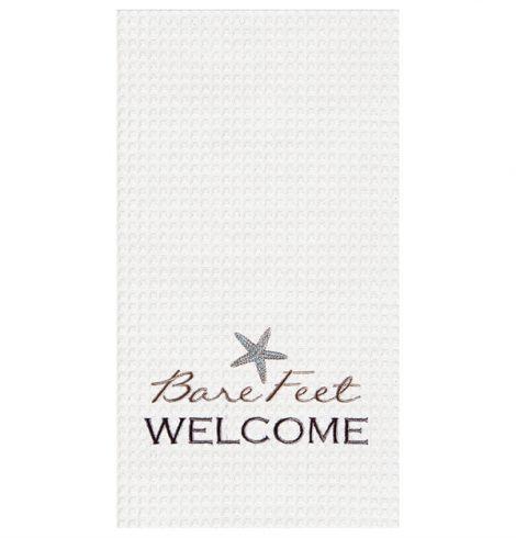 "A photo of the ""Bare Feet Welcome""  Kitchen Towel product"