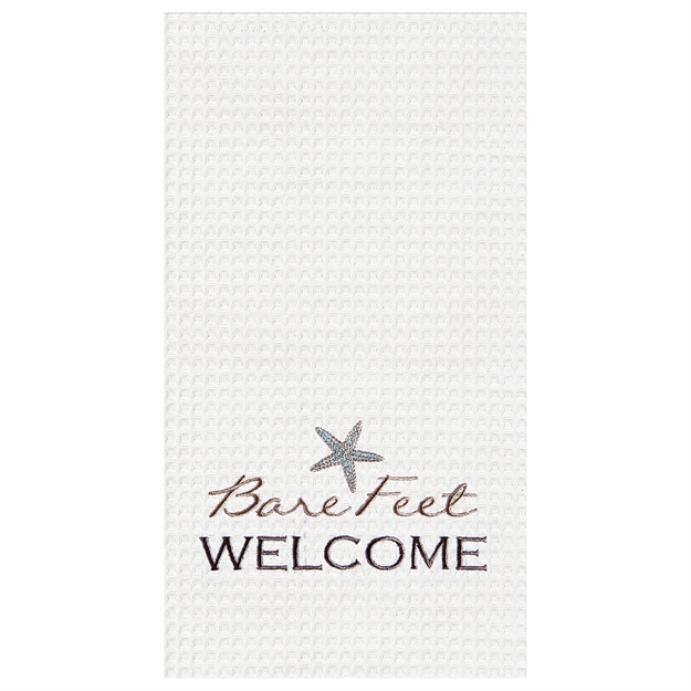 """A photo of the """"Bare Feet Welcome""""  Kitchen Towel product"""