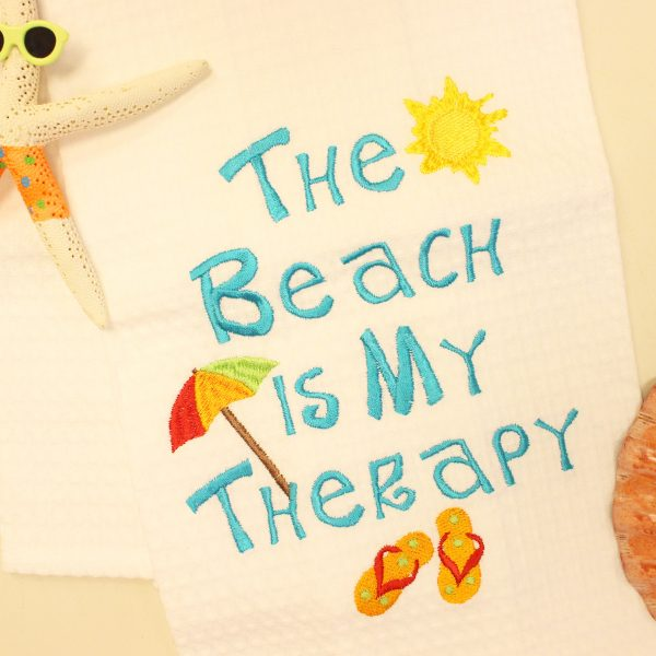 """Beach Towel Hashtags: """"The Beach Is My Therapy"""" Kitchen Towel"""