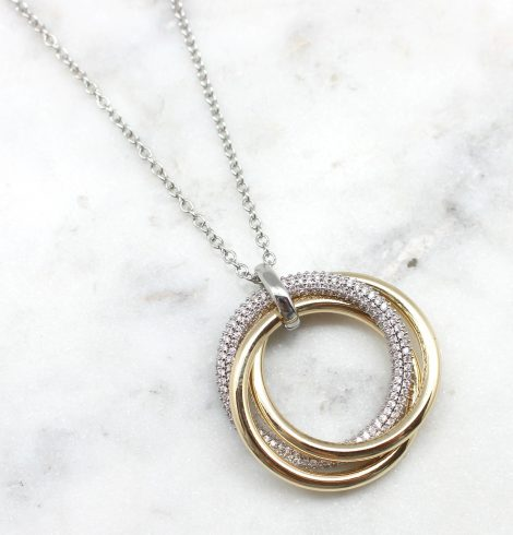 A photo of the Gold & Silver Pave Ring Necklace product