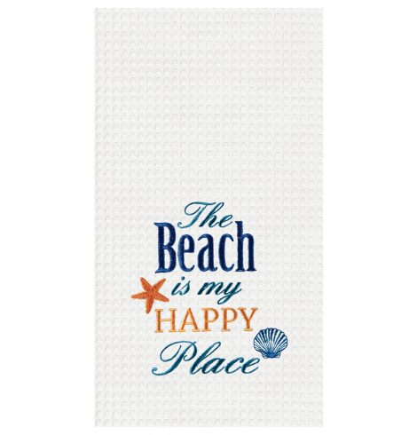 "A photo of the ""The Beach Is My Happy Place"" Kitchen Towel product"