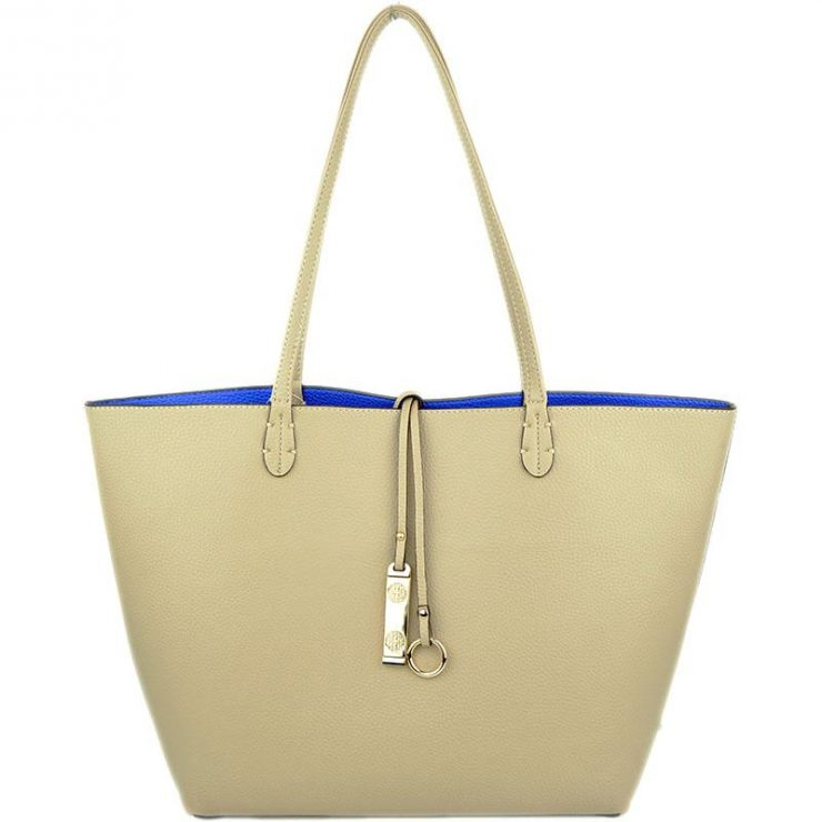 A photo of the Hot Pink & Ivory Reversible Tote product