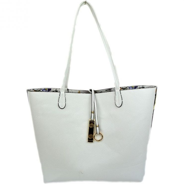 A photo of the Tropical Garden & White Reversible Tote product