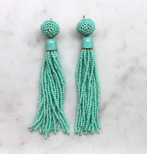A photo of the Long Post Sea Bead Earrings product