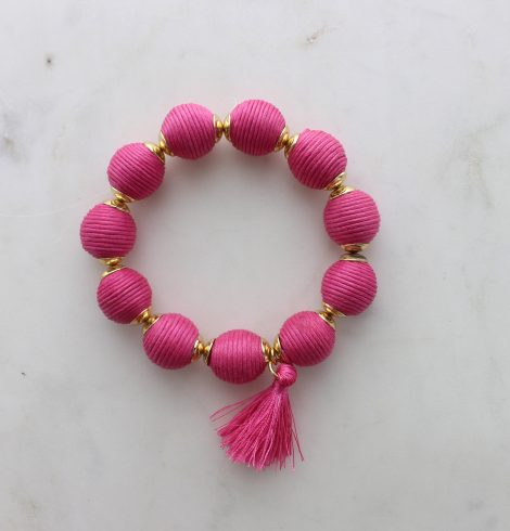 thread_ball_tassel_charm_bracelet_pink
