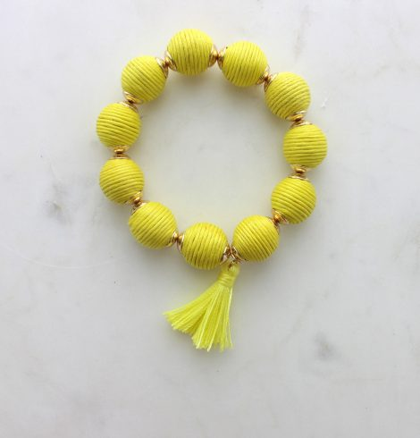 thread_ball_tassel_charm_bracelet_yellow