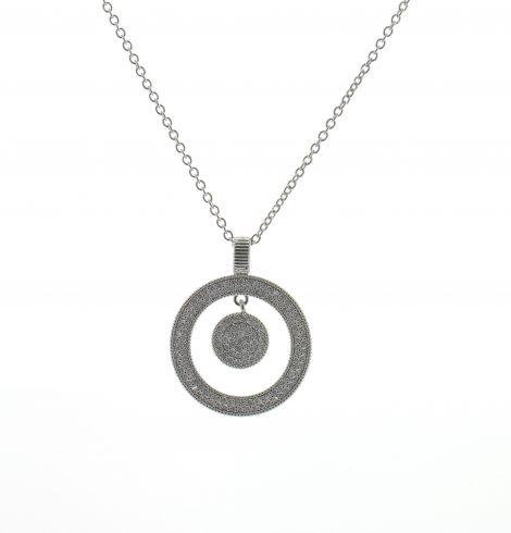 Bullseye Rhinestone Necklace Silver