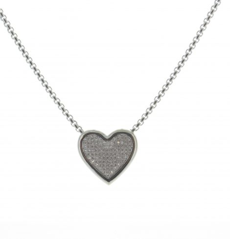 Rhinestone Heart Necklace Silver